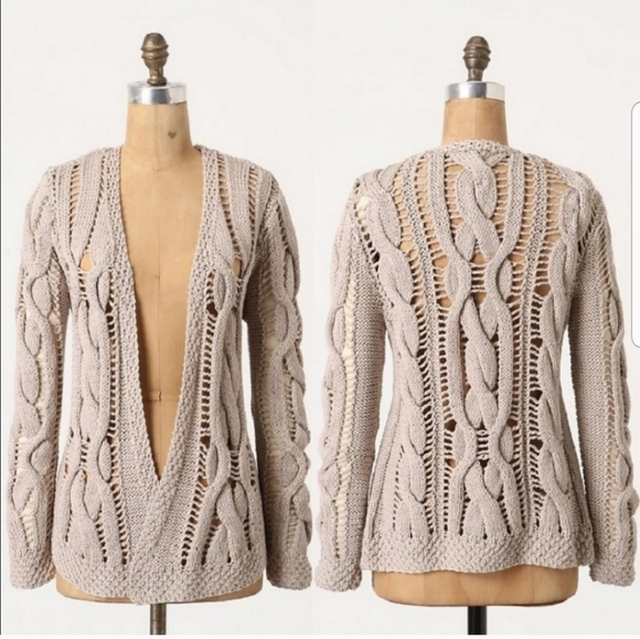 Anthropologie Sweaters - Open Work Cable Knit Cardigan